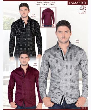 Camisa Vaquera Lamasini 4359 Negro Gris Vino