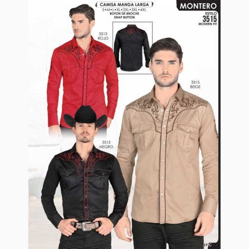 Camisa Vaquera Montero 3515 Rojo Beige Negro